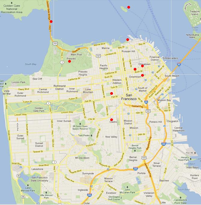 SF in TV TV Map San Francisco Wiki