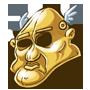 Goldener Schwabbelkopf des Hedonisten