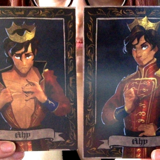 Both sides of Rhy's card.