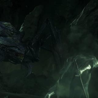 Шелоб в облике паука сражается с назгулом