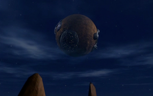 A Battle Moon viewed from planet Rock