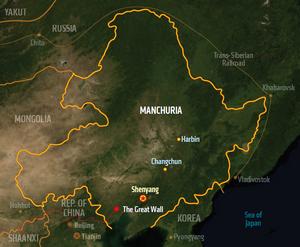 Manchuria, map from Shadowrun Sourcebook, Sixth World Almanac