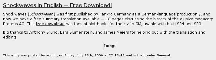 Screenshot publisher information Shockwaves 2013-01-13