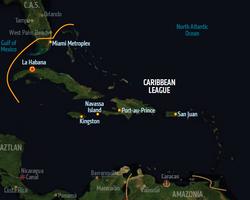 Caribbean League, map from Shadowrun Sourcebook, Sixth World Almanac