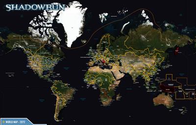 World Map from Shadowrun Sourcebook, Sixth World Almanac