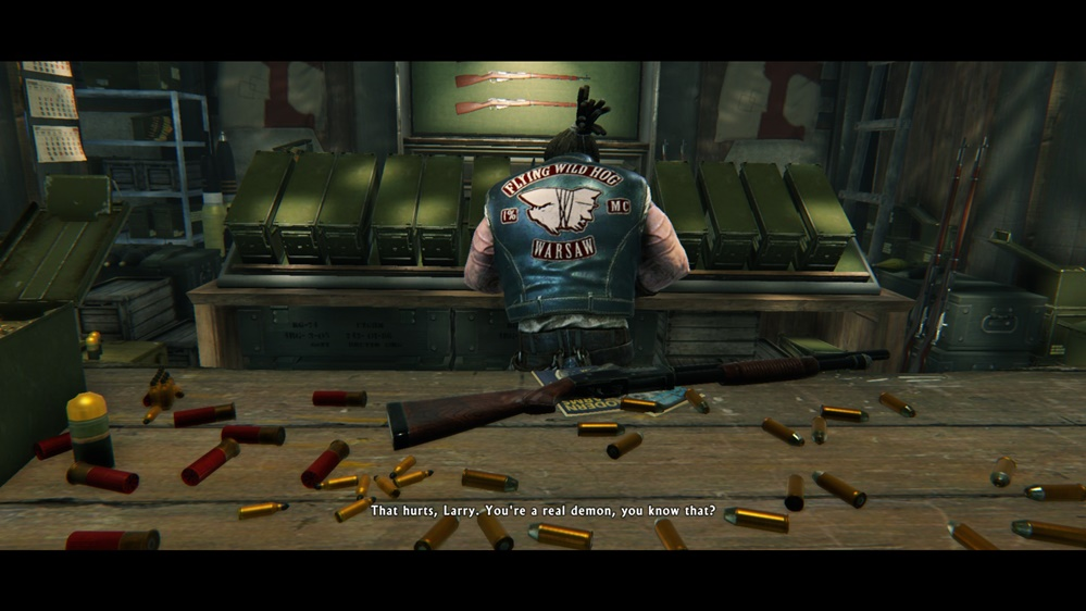 larry the arms dealer that sells weapons for lo wang has flying wild hog name and logo on the back his jacket - Pictures Of Easter Eggs 2