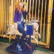 Bella-thorne-swedish-fish-box-on-pony-ride