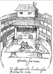 Illustration of the interior of The Globe Theatre mid