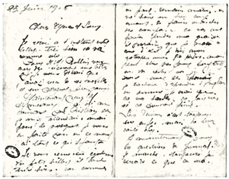 Letter to his mother and sister