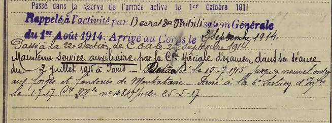 Military record 1914