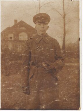 German soldier in front of Jules Thulliers house