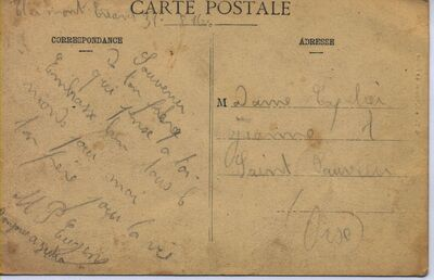 Postcard from pierre Mongne to his sister
