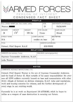 Condensed Fact Sheet - Aaron Warner