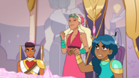 Perfuma attempts to increase their powers by hold hands with Mermista
