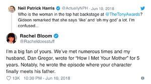 Neil Patrick Harris and Rachel Bloom tweets