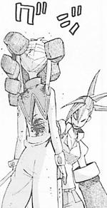 Giriko hält Maka in einer Hand