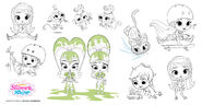 Shimmer, Shine, Leah, Zac, Nahal and Tala Production Art