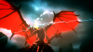 Bahamut lauching a fire breath attack