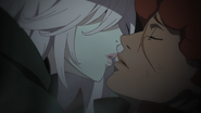 Amira about to kiss Favaro
