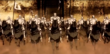 The Orleans Knights charging into battle