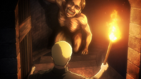 Reiner descubre un titán en el interior del castillo