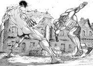 Eren vs Reiner en Shiganshina