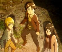 Armin, Eren, and Mikasa see the Colossus Titan