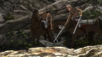 Eren detiene a Jean de matar al reptil