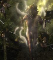 La titán mujer persige al escudrón de Rivaille