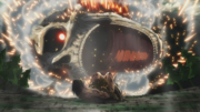 El Titán Colosal cae sobre Eren