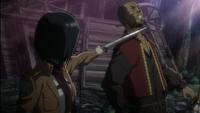 Mikasa le perdona la vida al malote