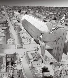El dirigible llega a Liberio