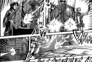Sasha y Armin disparan los barriles con arpones a Rod