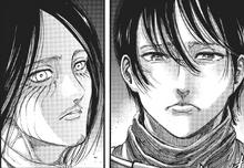 Mikasa llora al ver lo que ha hecho Eren