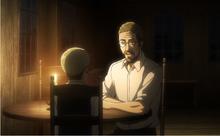 El padre de Erwin hablando con su hijo