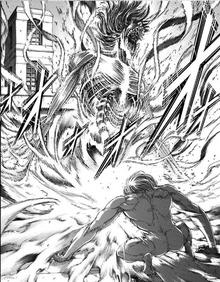 Eren se transforma en titan para combatir a Porco