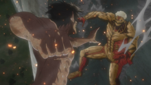 Eren se transforma para combatir contra Reiner
