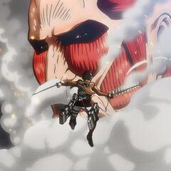 Eren salta para atacar al Titán Colosal.