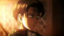 Expresión en el rostro de Levi