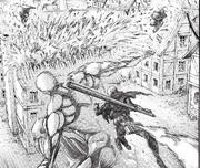 El titán acorazado golpea un tejado