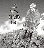 Erwin encima de una montaña de muertos