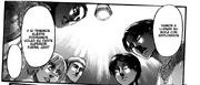 Erwin les explica su plan a Levi y Eren