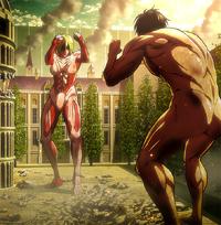Annie vs Eren anime