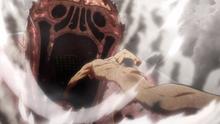 Eren arroja explosivos dentro de la boca del titán de Rod