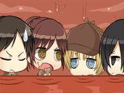 Eren, Sasha ,Armin y Mikasa dentro del Titán