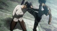 Rivaille golpea a Eren en el juicio