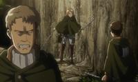 Eren discute con Auruo y Petra