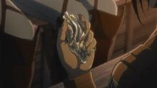 Hanji con el fragmento de piel endurecida