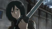 Mikasa luego de asesinar a un Titán Aberrante