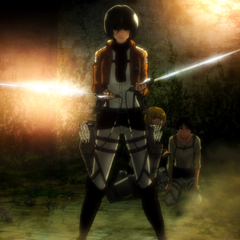 Mikasa protege a Eren.